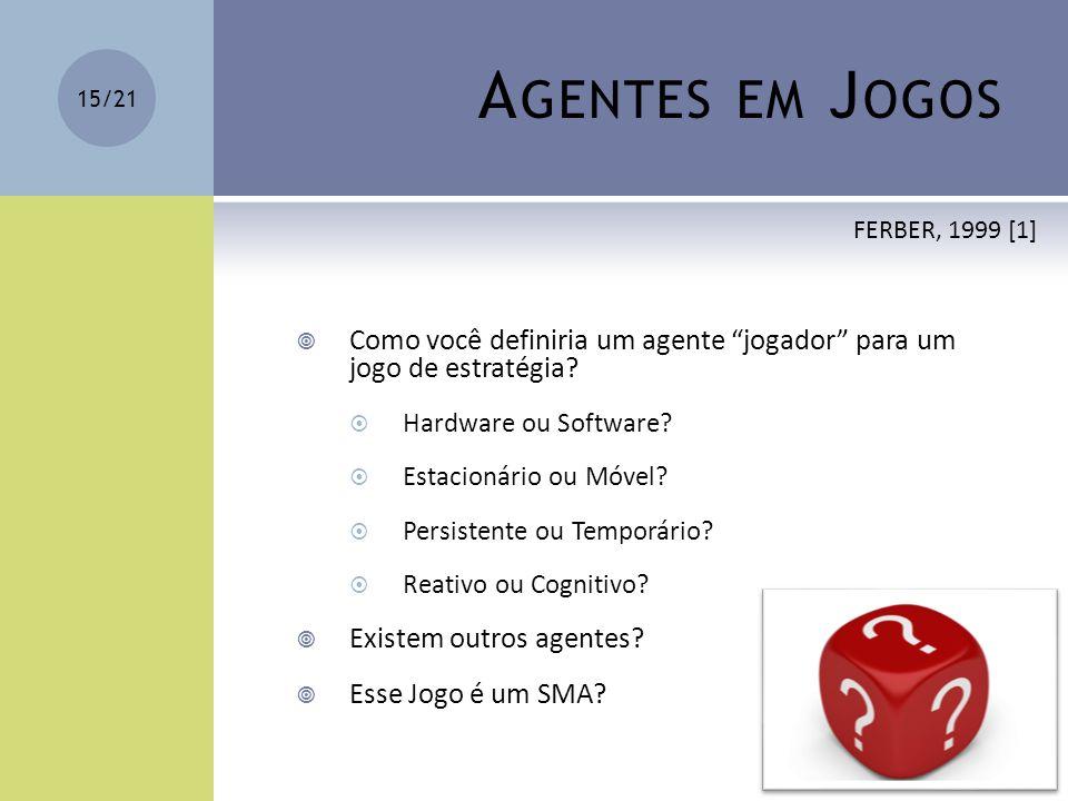 Agentes em Jogos FERBER, 1999 [1] Como você definiria um agente jogador para um jogo de estratégia